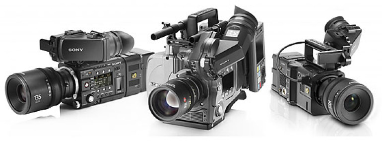 Sony F55 and Sony F5 cameras lined up