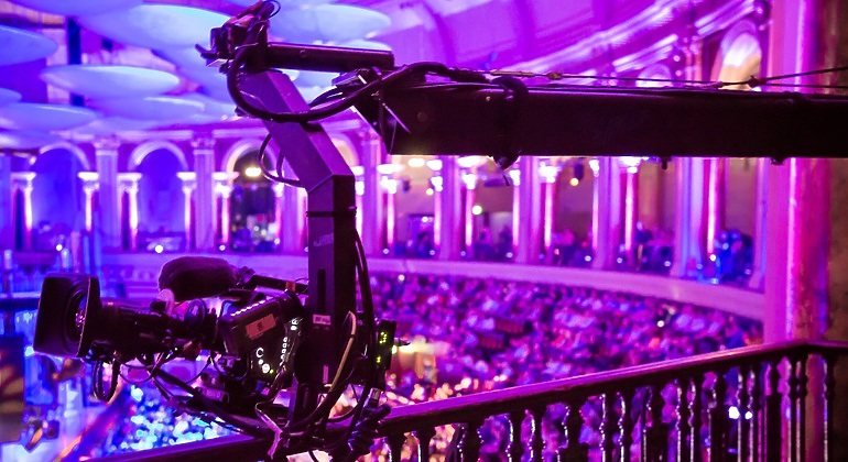 Camera equipment from the upper level of Royal Albert Hall