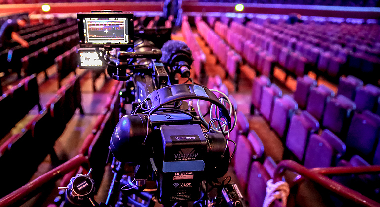 a camera in the audience