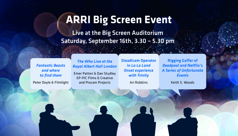 Graphic detailing ARRI's Big Screen Event with speech bubbles