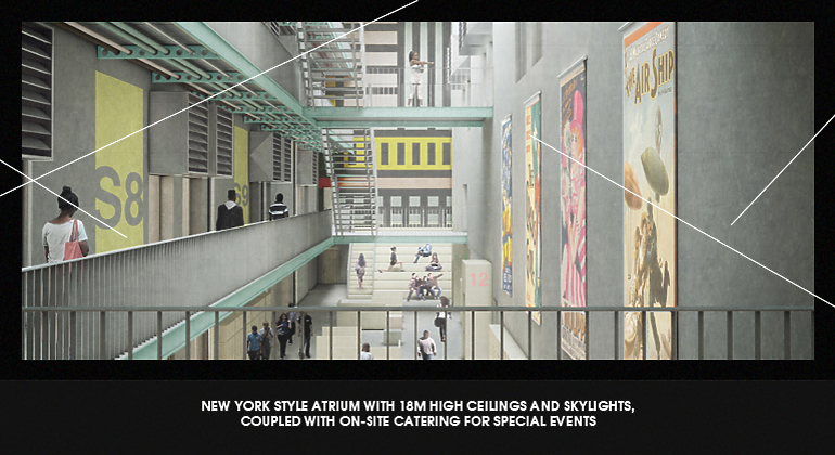 Rendering of an atrium at Mountview