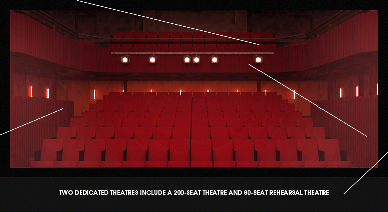 Rendering of a studio theatre at Mountview