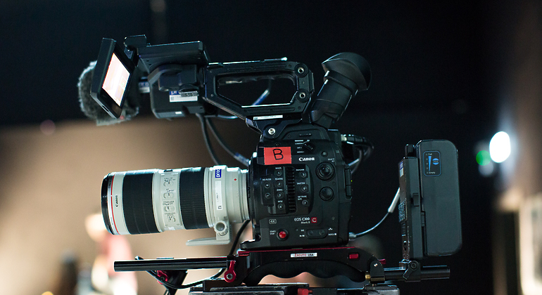 close up of a Canon C300 camera
