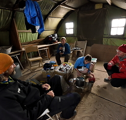 Images of team in tent in 2015 expedition