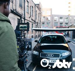 Camera operator filming an Audi car in London location