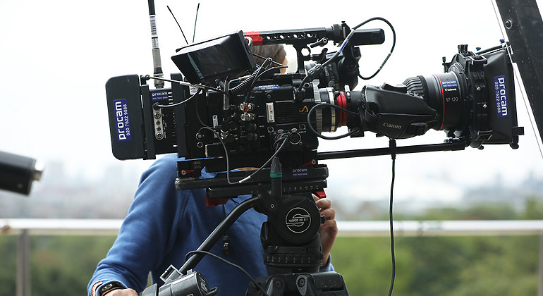 cameraman with a Sony F55 on the side