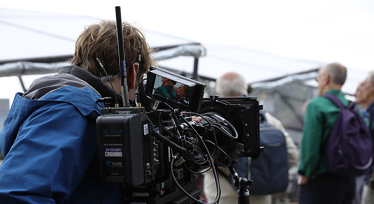 back shot of cameraman with Sony F55